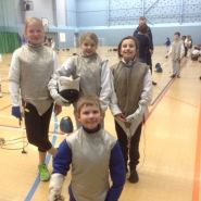 Fencing club member taking part in competition
